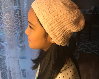 Handmade light pink knit hat