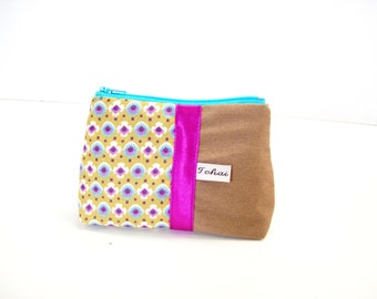 purse beige and purple floral fabric , coin case in canvas flowered , zippered case