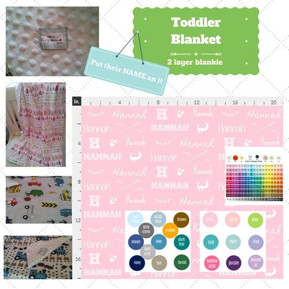 Personalized Blanket - Name Game - Deer & Hearts - organic cotton, minky baby blanket, 24x32 Newborn, 32x50 Toddler Kids Blanket, Boys, Girl