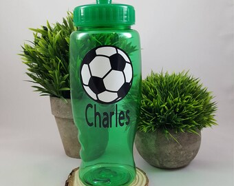 Personalized SOCCER team gift, Soccer water Bottle, Soccer Sports Bottle, Soccer party favor, Soccer Kids Plastic bottle, Soccer team gif