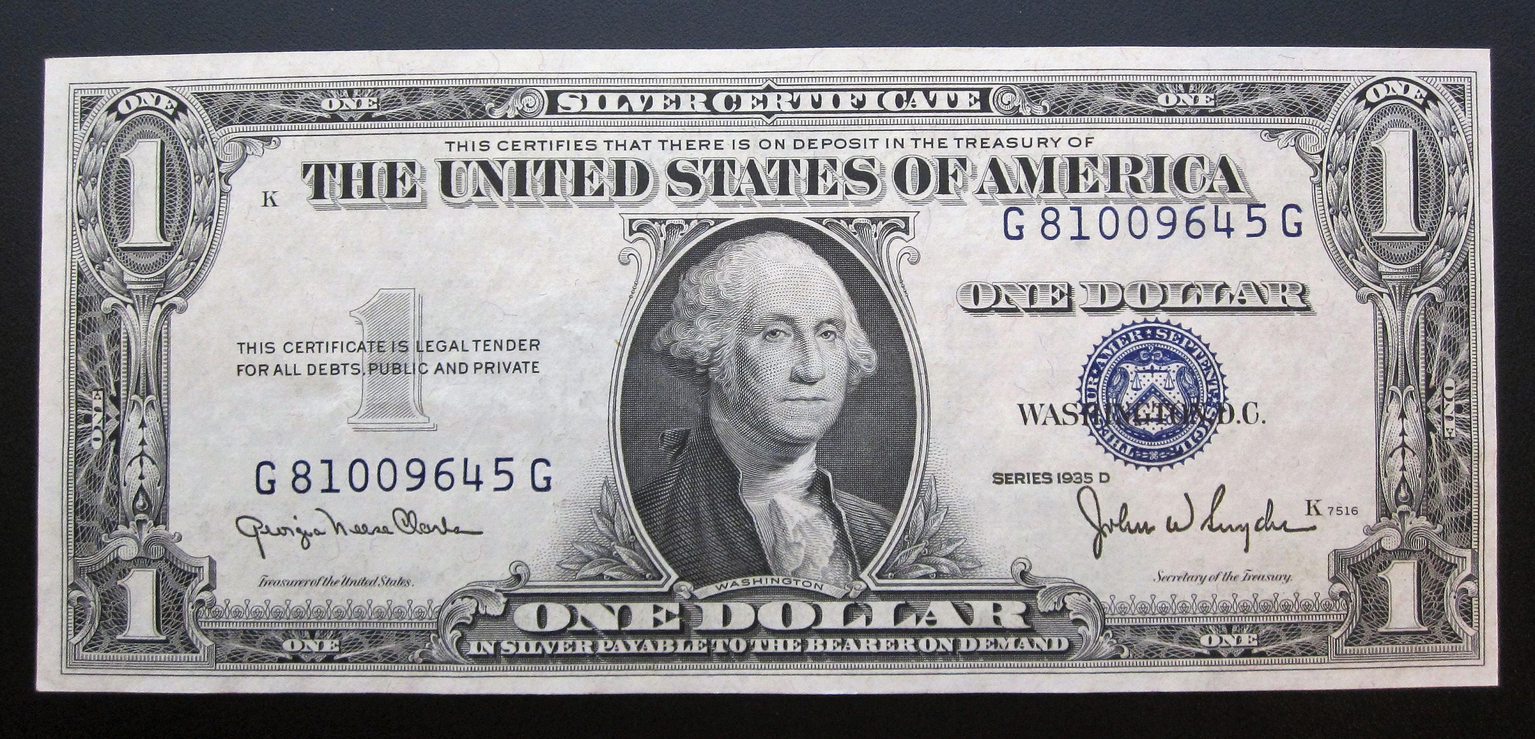 Series 1935 d one dollar silver certificate g 81009645 g description the item up for sale is a 1935 d one dollar silver certificate 1betcityfo Images