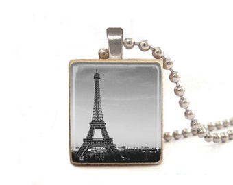 Eiffel Tower Necklace | Black and White Photo Necklace | Paris Necklace | Eiffel Tower Charm | France Pendant | Wood Necklace | Game Piece