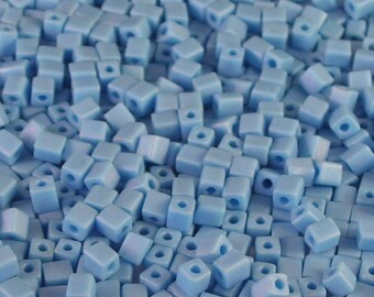 Tube of Turquoise Matte AB Matte 4mm Glass Cube Beads // Aqua Aurora Borealis Cube Beads