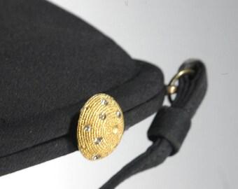 Vintage Black Evening Handbag Silk Faille Rhinestone Clasp Day Evening Structured Purse