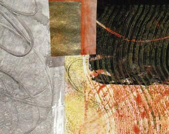 Il est 05:00 quelque part - Collage Original dessiné et peint à la main avec des papiers de 4 x 4 sur 5 x 5» support