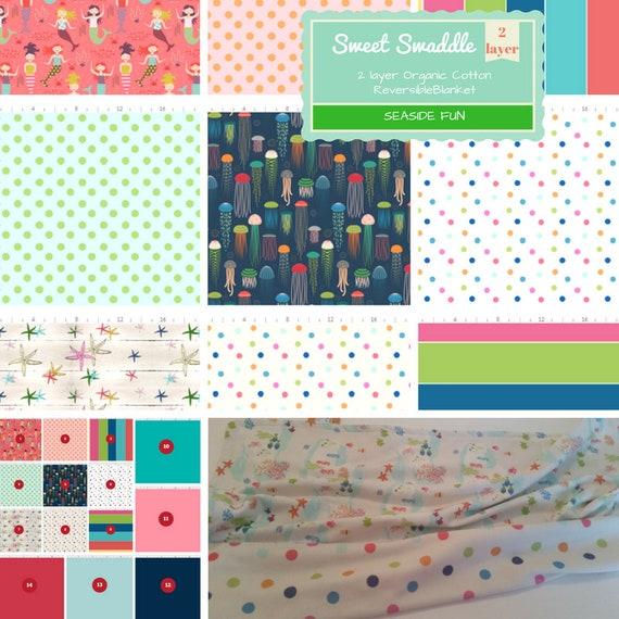 Organic Cotton Reversible Newborn Swaddle, Baby / Toddler Blanket - Seaside Fun - Mermaids, Starfish, Jellyfish, Polka Dots & Stripes