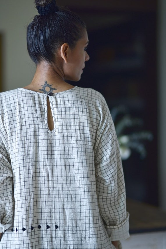 Frankfurt Charcoal With amp; Long Stripes Embroidery Dress Cotton Organic Kala T4SXwrqT