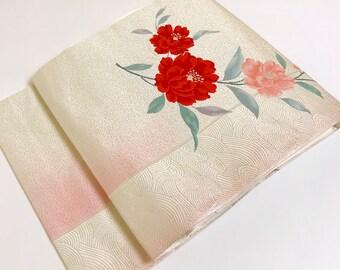 Japanese K032902 Beautiful Silver Nagoya Obi Kimono Belt Vintage