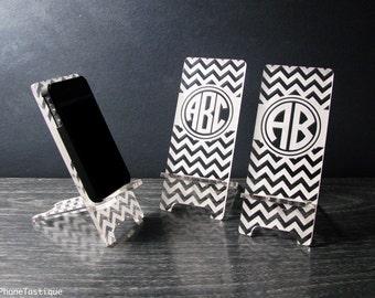 Personalized Gift Custom Chevron Monogram Acrylic Cell Phone Stand Docking Station - 5 Sizes - iPhone 5, iPhone 6, iPhone 6 Plus, Universal