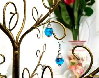 Charm Earrings by Anne O'Brien Design / Tropical Blue Silver Wire Earrings