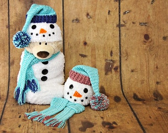 Newborn Snowman Cocoon, Matching Hat and Scarf, Crochet Snowman Cocoon, Snowman Photo Prop, Christmas Card Photo Prop, Baby Shower Gift