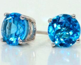 London Blue Topaz Stud Earrings .925 Sterling Silver Rhodium Finish