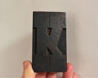 "Letterpress Wood Type K- 3-1/4"" Tall 8.5 cm/ Antique Letterpress Wood Printer's Block HAND CARVED wabi sabi"