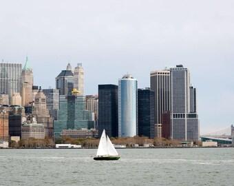 New York City Skyline with sailboat