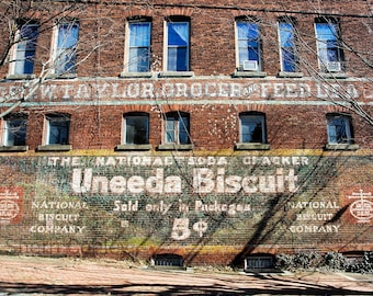 Vintage Sign Print or Canvas, Brick Building, Painted Grocery Ad, Retro Photo, Rustic Country Kitchen Art, Farmhouse Decor - Uneeda Biscuit