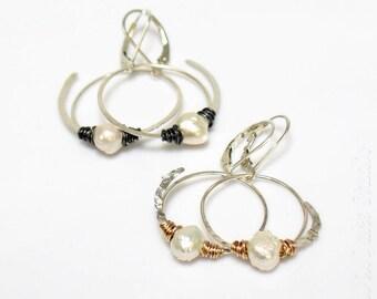 Druzy Pearl Hoop Dangle Earrings in Mixed Metals, Freshwater Pearls and Sterling Silver Drop Hoops, WillOaks Studio Pearl Dangle Hoops