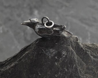Raven Charm, sterling silver 'Edgar', raven, crow
