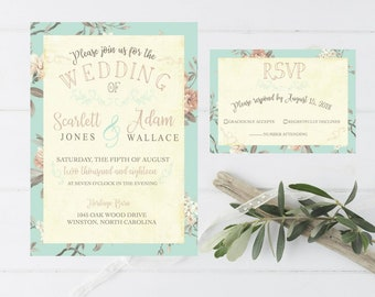 Wedding Invitation Vintage Style Chinoiserie Simple Floral Rustic Wedding Invitation Response Card RSVP #5015