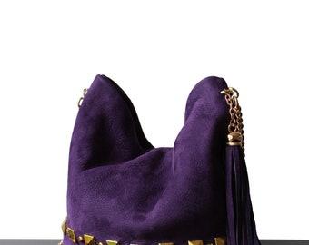 Leather Violet bag, mini bag, Violet cross-body, suede violet cross-body, suede mini bag, suede bags, violet suede bags, cross-body bags