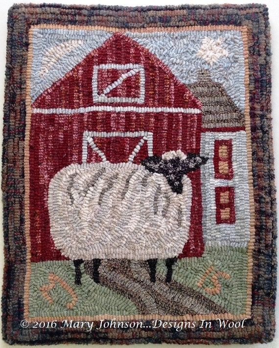"Rug Hooking KIT, Annabelle the Wandering Sheep, 14"" x 18"", K104, Folk Art Sheep, DIY Primitive Rug Hooking"