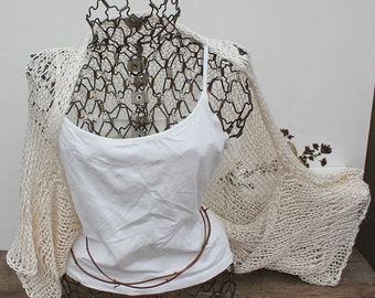 Loose Knit Shrug Woman's Cream Kimono Sleeve Shrug Natural Pearl Shrug Bamboo & Silk Knit Shrug Wide Sleeved Knit Shrug Loose Knit Scarf