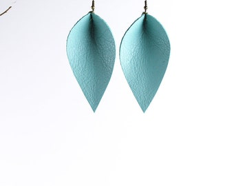 Leather Earrings / Leather Leaf Earrings / Turquoise / Inspired By Joanna Gaines Earrings / Magnolia Zia Style Leaf Earrings / Mother's Day