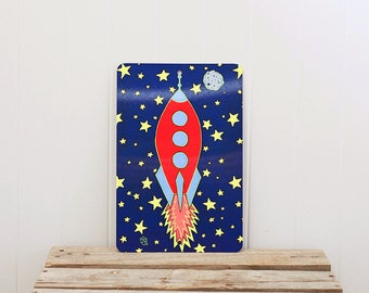 Metal Sign Retro Rocket UV Protected Space Adventure Galaxy Infinity Stars 8 x 12 inch