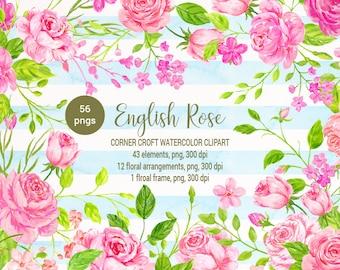 English rose clipart, watercolor pink rose, peach rose, romantic rose, floral arrangement instant download