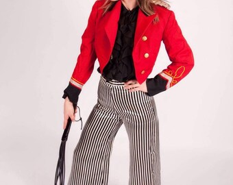 Vintage Happy Legs high waisted wide legged black and white striped pants