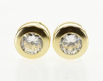 14k Cubic Zirconia Round Bezel Inset Post Back Earrings Gold