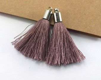 2pc 40mm Beautiful Brown Silk Tassel In Silver Cap
