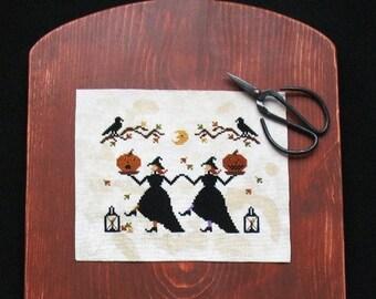 Primitive Cross Stitch Halloween Pattern PDF Hallows Eve Dance
