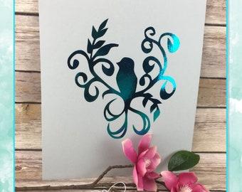 "New 8""x10"" Foil Art!  Bird with Flourish"