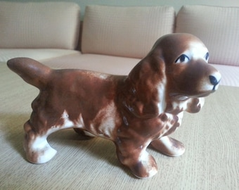 Vintage Cocker Spaniel Figurine, Ceramic Dog Statue