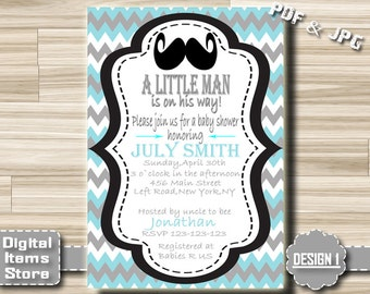 Mustache Baby Shower Invitation Printable Gender Boy Little Man on Chevron - Chevron Baby Shower Invites - Digital File DIY Custom