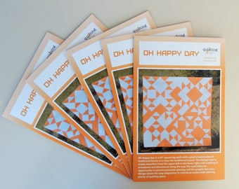 Oh Happy Day, a Printed Modern Quilt Pattern by Quilting Jetgirl