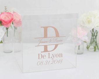 Personalized Wedding Card Box Clear Acrylic Modern Bridal Shower Engagement Party QUICK shipping  (EEBB201)