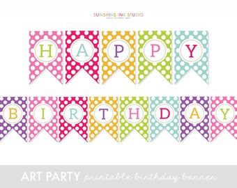 Art Party Banner - Art Party Birthday Banner - Happy Birthday Banner - Art Party Printables INSTANT DOWNLOAD