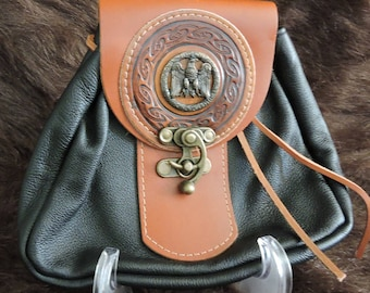 In Stock Large Economy Sporran Design Leather Belt Bag / Pouch Medieval, Bushcraft, Costume, Ren Faire, Black and Tan