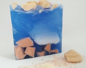 Tropical beach soap - Tropical sea soap - Blue sea soap - Summer soap - Sea shells soap - Sea wave soap - Ocean soap - Soap for her