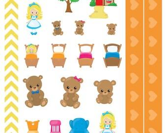 Three Bears - Fairytale, nursery rhyme, Planner Stickers, for Personal, Pocket, ECLP, Kikki.K Filofax, Happy Planner