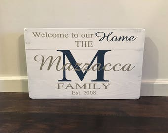 Personalized family name/ Monogram Sign / Welcome Home/Wooden Signs/Handmade/Rustic / Custom Last Name Sign / Housewarming