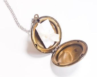 SALE Personalized Locket Necklace - A Vintage Antique Bronze Locket Silver Necklace Bridesmaid Locket Necklace - Flowergirl Locket Necklace