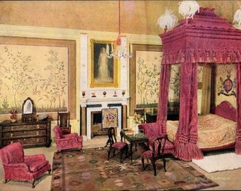 c.1930s QUEEN Elizabeth's DOLLHOUSE Furniture; The King's Bedroom; Raphael Tuck & Sons Postcard No. 4502; Series III; Mint Condition