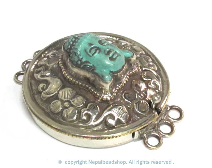 1 clasp - Large ethnic Tibetan silver finish buddha box clasp pendant from Nepal - LN039A
