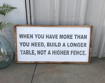 When you have more than you need, 18x36, Framed wood Sign
