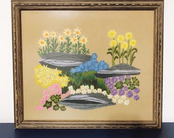 Vintage Framed Embroidered Colorful Flower Scene Yarn Art