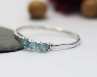 Triple Apatite Simple Silver Ring, Statement Ring, Stackable Simple Ring, Sky Blue Gemstone Ring, Stacking Ring, Silver Ring, Mather's day