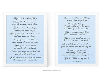 My Wish For You   SET Of 2, Inspirational Print, Song Lyrics, Wall Art,  Gift Ideas, Christmas Gift, Birthday Gift, Graduation Gift, D15 S1