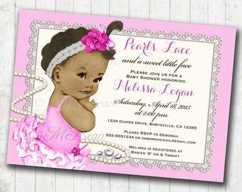 African American Baby Shower Invitation For Girl Princess Pink Baby Girl  Invitation   DIY Printable